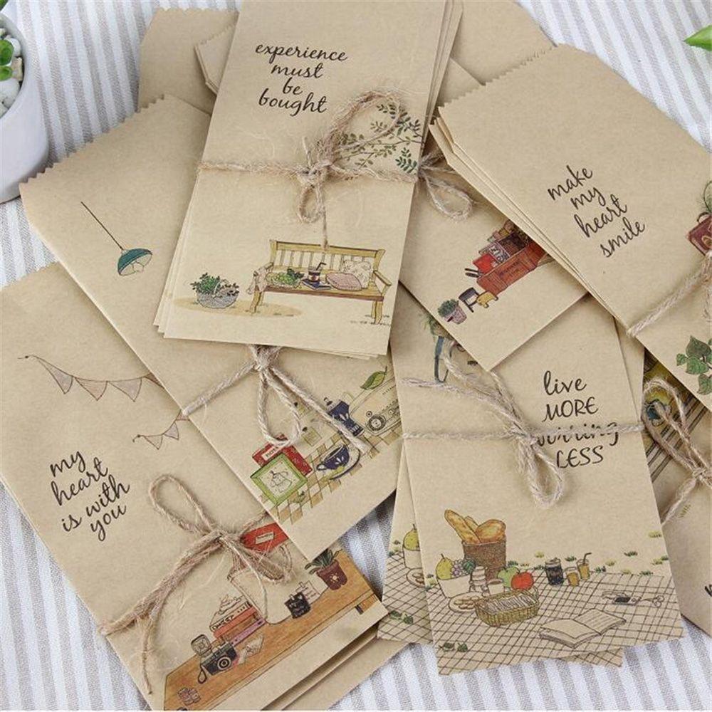 10pcs Mini Envelope Postcard Letter Stationary Storage Paper AirMail Vintage HT