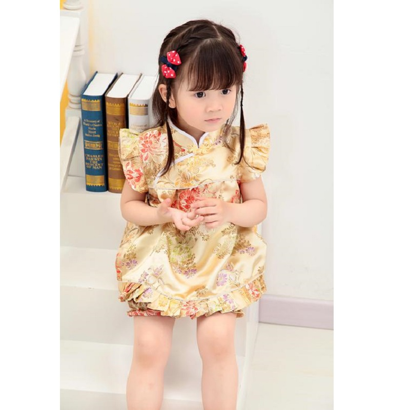 2018 New Chinese Year Baby Clothes Sets Qipao Suit toddler outfits baby Girl Jumper girls dress pant suit bebe summer clothes