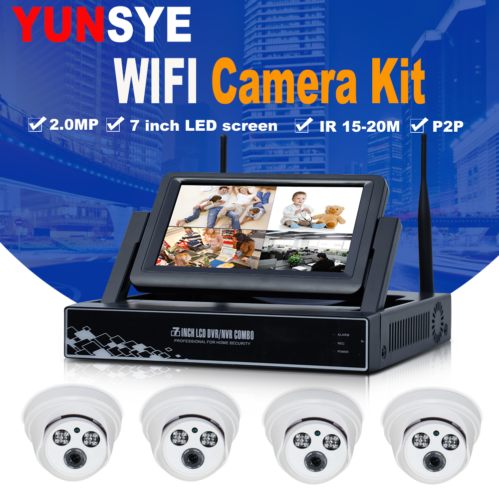 NEW 4CH CCTV System Wireless 1080P NVR With 2.0MP Wifi Security Camera System Night Vision Surveillance Kit 7-inch display ...