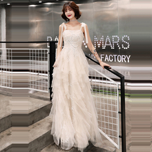 Prom Dress Sexy Sling Boat Neck Women Party Night Dresses Embroidery Vestidos De Gala 2019 Plus Size Sleeveless Gowns E680