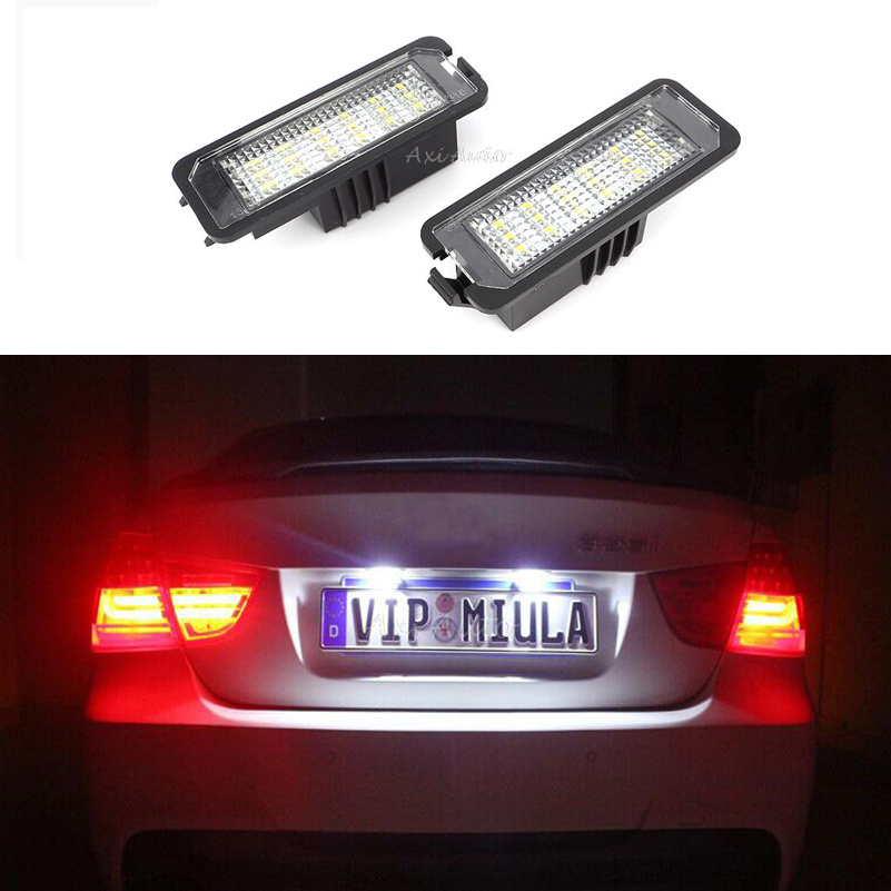 2PCS LED Light Number License Plate Lights lamps for Volkswagen VW Polo Beetle Eos Golf 4 5 6 Lupo Passat 4D CC Phaeton Scirocco led license number plate light lamp 18smd for vw caddy transporter passat golf touran jetta for skoda no error