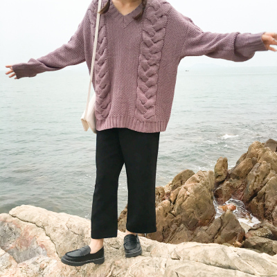 VogaIn 2016 Korea Women Sweet V-neck Dropped Shoulder Large Cable Twisted Knitting Sweater Loose Jumper Pullovers For Girls
