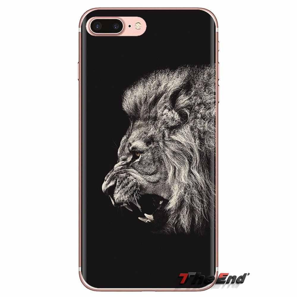 Lembut Transparan Kasus PENUTUP UNTUK Samsung Galaxy S3 S4 S5 Mini S6 S7 Edge S8 S9 S10 Plus Note 3 4 5 8 9 Pria Singa Wajah Poster