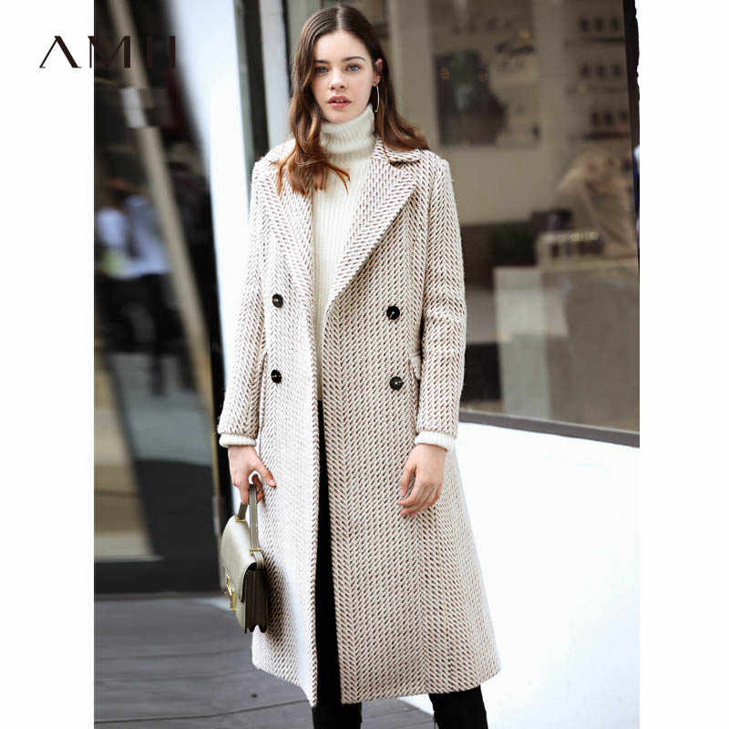 Amii Minimalist Chic Woolen Coat Winter Women 2018 Causal Solid Buttons Pockets Plaid Stripes Female Long Wool Blends Coat