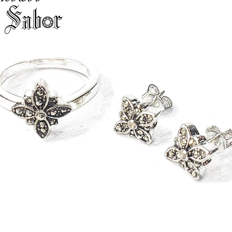 Black Star Marcasite Stud Earrings & Rings,2019 925 Sterling Silver Fashion party Jewelry Sets For Women Gift thomas