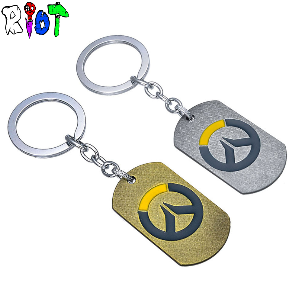 Hot Blizzard Games Overwatch LOGO symbols OW keychain bronze and ancient silver key chains alloy Pendant keyring For Men Jewelry