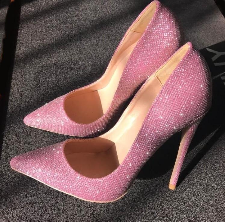 Hot Selling Pink Glitter Pumps Women