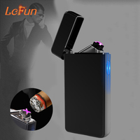 Double Arc Windproof Plasma Cigar Cigarette Lighter New Design Pipe USB Charging Flameless Electronic Pulsed Smoking