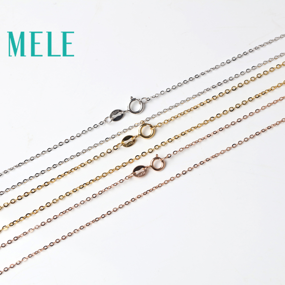MELE real 18K gold glitter O chain for jewelry,yellow gold,white gold and rose gold vegetarian chain necklace accessories real rose gold necklace singapore chain