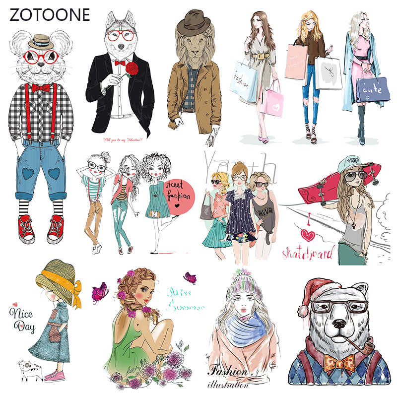 ZOTOONE Fashion Girl Stripes Iron on Transfer Patches on Clothing Diy Dog Patch Heat Transfer for Clothes Accessories Sticker G
