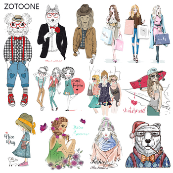 ZOTOONE Fashion Girl Stripes Iron on Transfer Patches on Clothing Diy Dog Patch Heat Transfer for Clothes Accessories Sticker G image