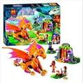 New Bela 10503 446Pcs Friend Elves Fire Dragon's Lave Cave Model Building Kit Blocks Lepin Bricks Girl Toy 41175 P645