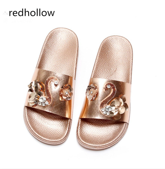 907c6d4c7 Women Summer Shoes Woman Slippers Flat Heels Fashion Crystal Lady Sandals  Slippers Womens Zapatos Mujer Ladies
