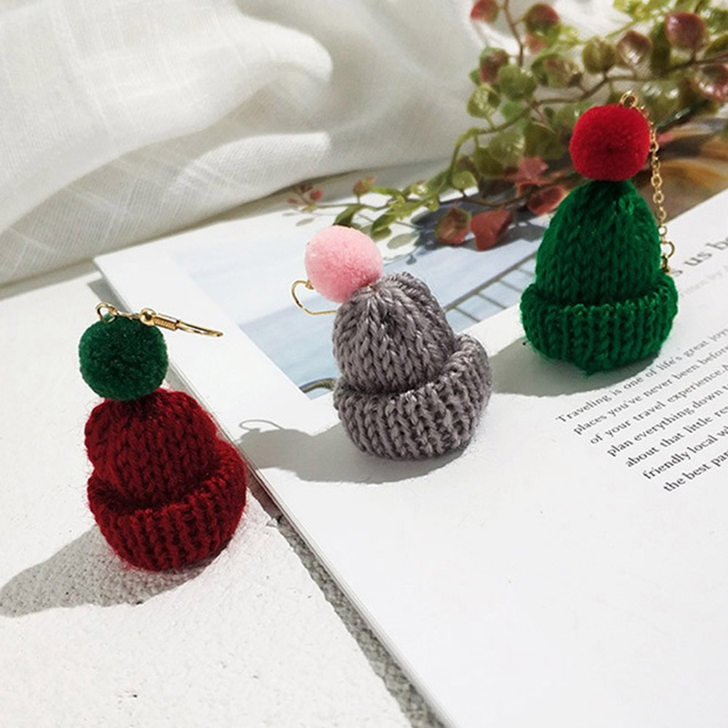 2018 New Wool Sweet And Lovely Christmas Hat Fashion Jewelry Earrings Hand Knitted Wool Earring  1 Pair Green Red Black White