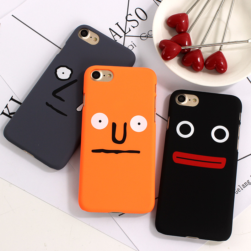 Simple Funny Face Case for iPhone 7 7plus 6 6s 8 8Plus Nervous Laugh Stunned Expression Cute PC Hard Case for Couples Capas