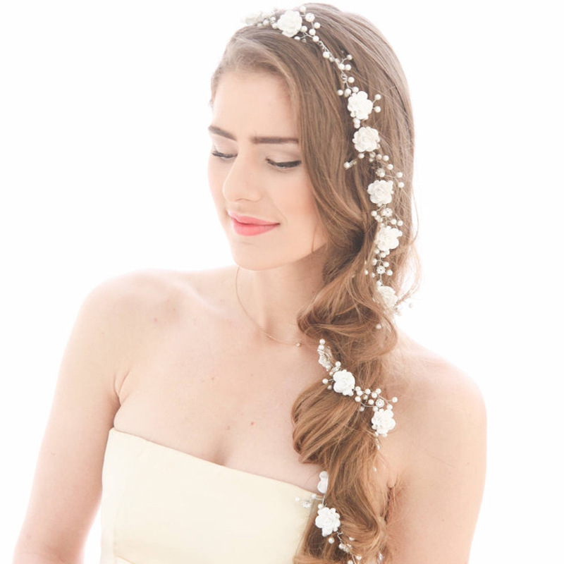 Idealway Women Silver Metal Flower Pearls Wedding Tiara Headpiece Hair Vine Long Bridal Headbands Wedding Head Chain Accessories