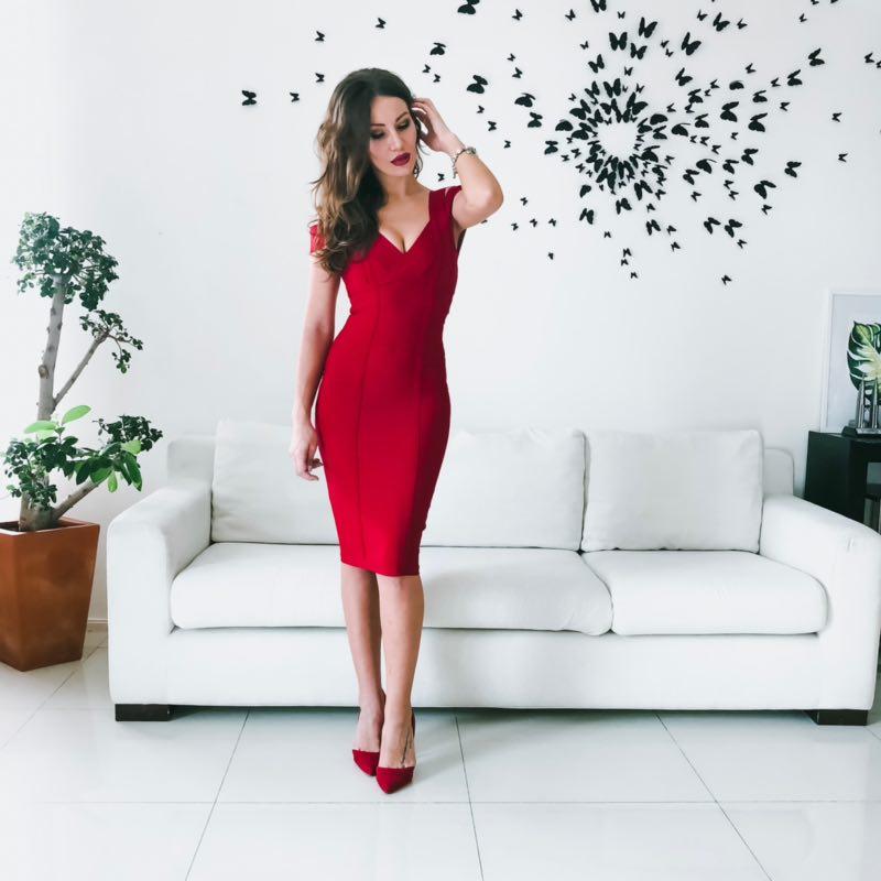 Women Bandage Dress Sexy Spaghetti Strap Knee Length Dresses V Neck Backless Sleeveless Evening Party Dresses