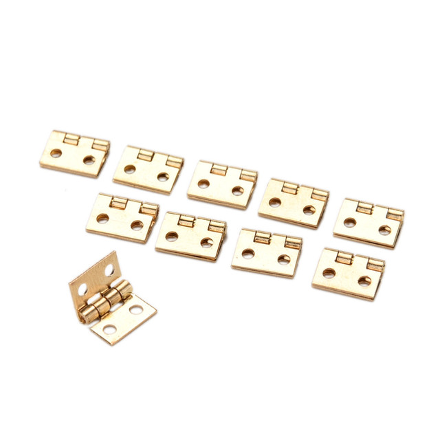 10Pcs Brass Plated Mini Hinge Small Decorative Jewelry Wooden Box Cabinet Door Hinges With Nails Furniture Accessories
