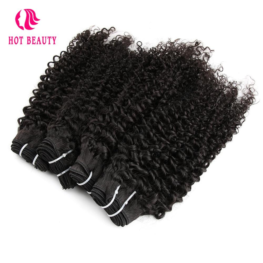 Vroče lepotne lase Afro Kinky kodrasti brazilski Remy podaljški za - Človeški lasje (za črne) - Fotografija 3