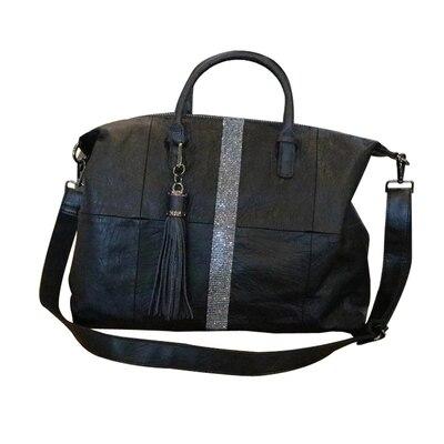 Nouveauté femmes grand casual noir fourre-tout sac à main femme souple en cuir pu grande capacité un sac à bandoulière diamant gland messenger sac