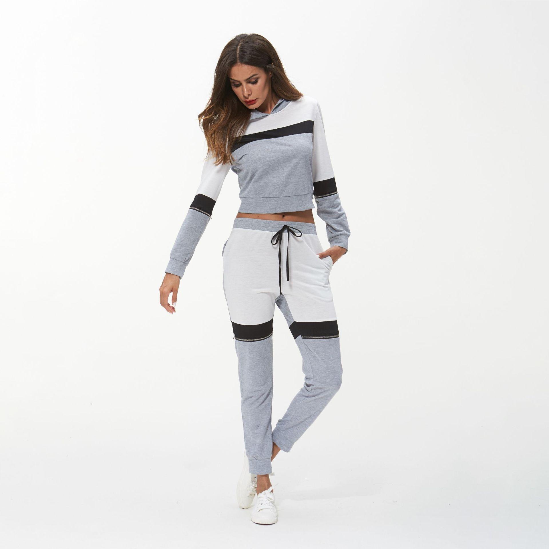 Femmes Survêtement Sport féminin À Capuche Hoodies Sweat + pantalon  Patchwork Courir Jogging Loisirs Sport Costume cada8e0d755