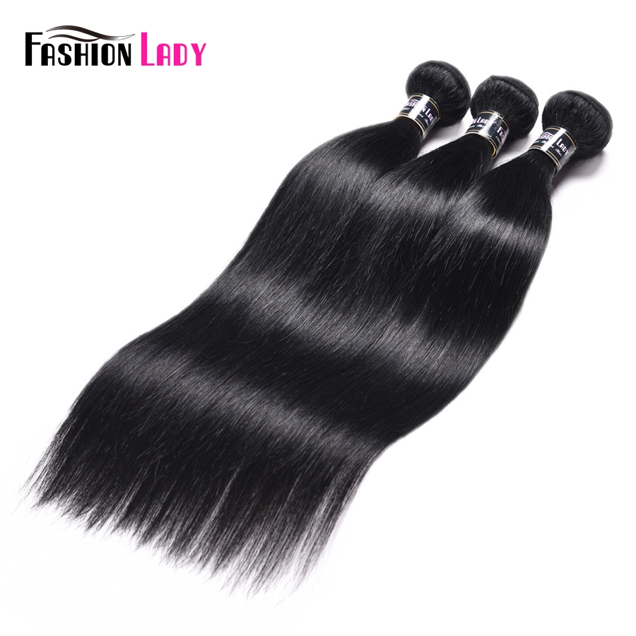 Fashion Lady Pre-colored Brazilian Hair Weave Bundles Straight #1 Jet Black Human Hair Bundles 1/3/4 Bundle Per Pack Non-remy