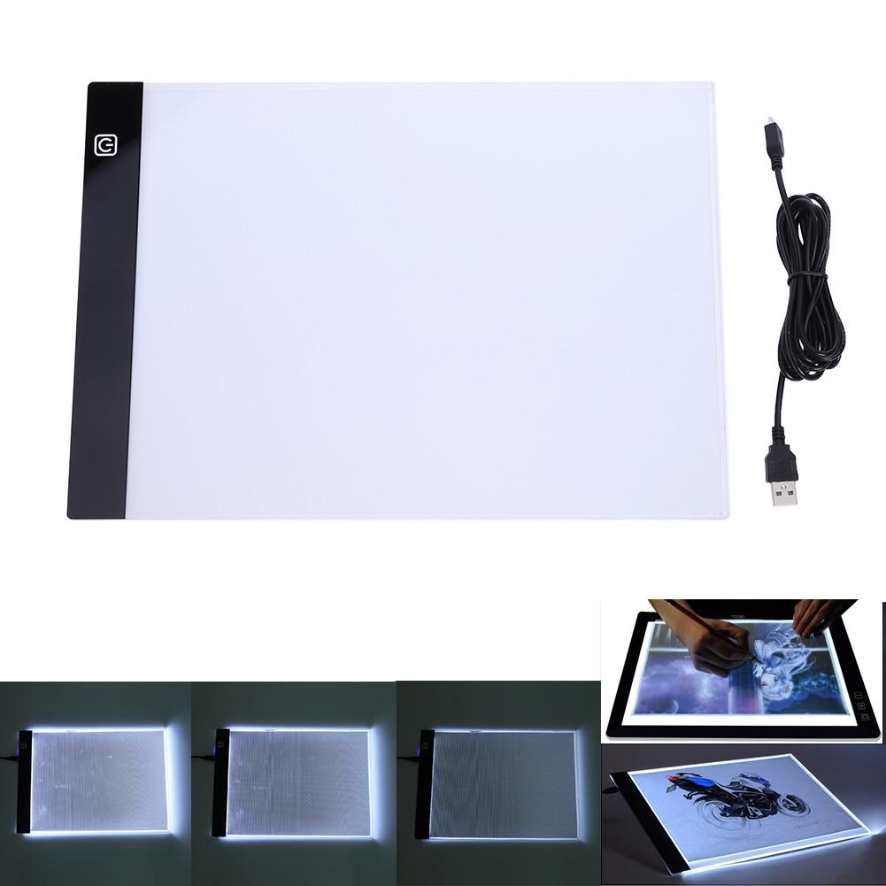 Tabletas digitales 13,15x9,13 pulgadas A4 LED artista gráfico Delgado arte Stencil dibujo Junta caja de luz Tracing Pad tabla de tres niveles