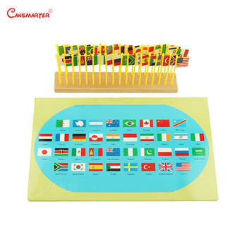 Montessori Preschool Flags of The World Map Recognize Geography Standard Teaching Aids Wooden Materials Toys Educational