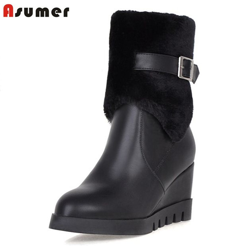 ASUMER hot fashion big size 33-43 women shoes round toe high heels wedges platform winter boots short plush warm mid calf boots new fashion winter boots wool flock shoes women boots platform thick high heels mid calf boots two swear big size 34 43 0715