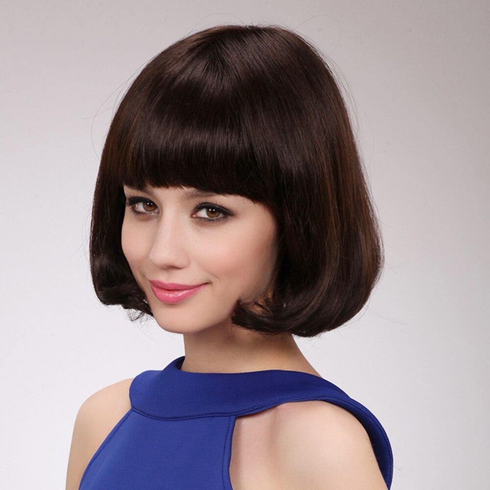 BLONDE UNICORN 10 tum kvinnor syntetisk Bob Wig med platta Bangs End - Syntetiskt hår - Foto 5