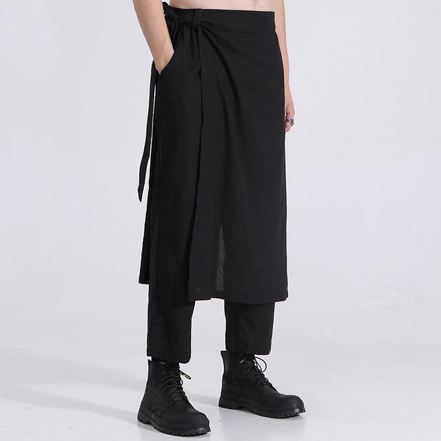 Owen Seak Men Casual Cross Pants Cotton Gothic Skirt Men's Clothing Summer Women Ankle-Length Pant Loose Black Pants Size XXL 3