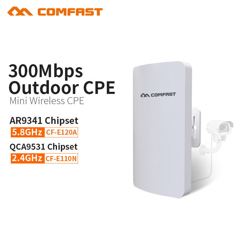 COMFAST 300mbs mini series wireless bridge outdoor CPE wifi router repeater AP for ip camera project 1-2km range CF-E120A E110N comfast wireless bridge 5 8ghz 300mbps mini outdoor cpe wifi router for ip camera project 1 2km long range amplifier cf e120a