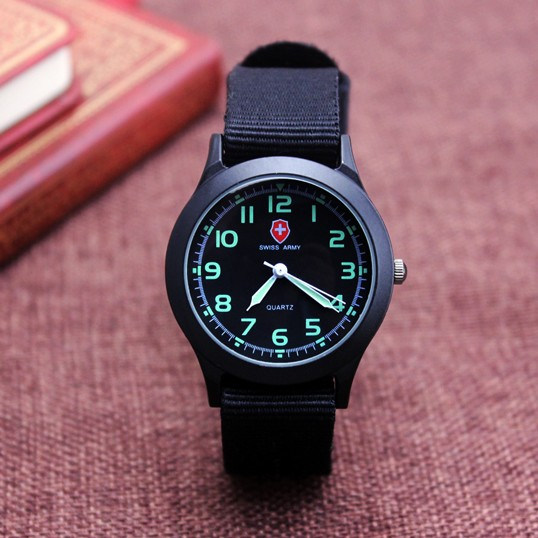 Middle School Students Unisex Platimum Nylon Fabric Watch Sport Thin Boys Girl's Canvas Quartz Dress Wrist Watches For Boy Girl