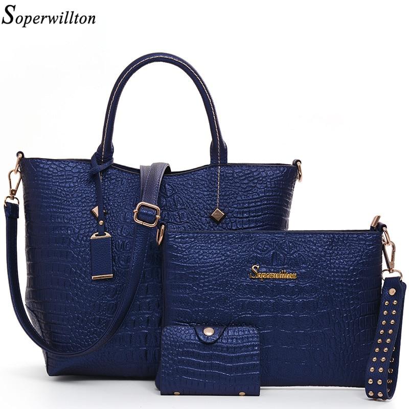 Soperwillton Brand Alligator Women Top-Handle Bags Fashion Lady Crossbody Bag Bl