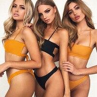 New Women Beachwear Ribbed High Cut Bandeau Bikini Black Orange two pieces Bandeau swimsuit female swimwear Brazilian Bikini