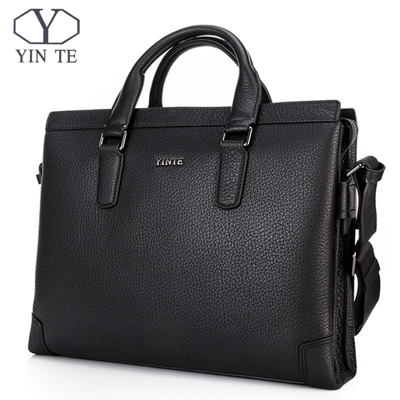 YINTE Men Messenger Bags Male Genuine Leather Men Bag Briefcase Shoulder Leather Laptop Bag Crossbody Bags Handbags Tote 8369-9A top power men bag fashion genuine leather men crossbody shoulder handbags men s briefcase men bags double bag messenger bag male