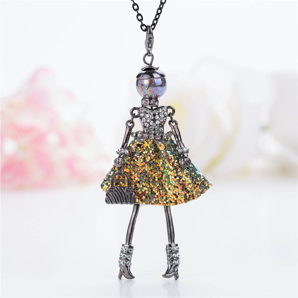 HOCOLE 2018 Shining Statement Crystal Doll Necklace Dress Handmade New French Pendants For Girls Women Fashion Jewelry