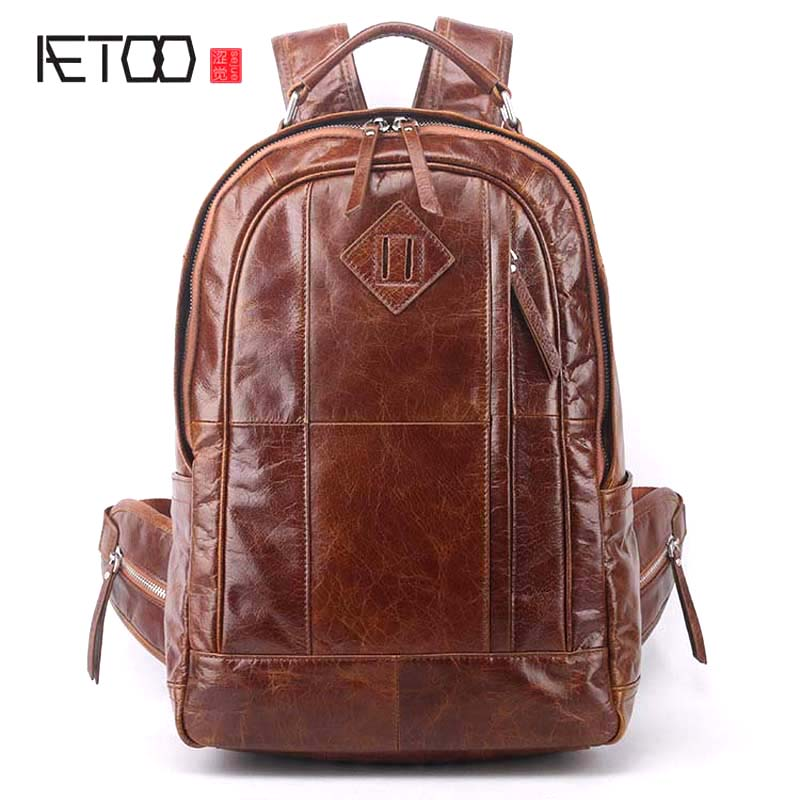 AETOO New men s backpack shoulder casual leather fashion leather shoulder bag male Korean version