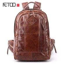 AETOO New mens backpack shoulder casual leather fashion bag male Korean version