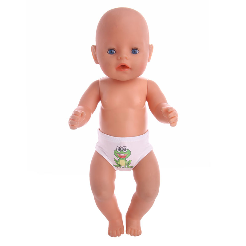 Handmade Doll Cute Frog Pattern White Panties Underwear Fit 18 Inch American  Doll &43cm New Born Baby Zaps Accessories