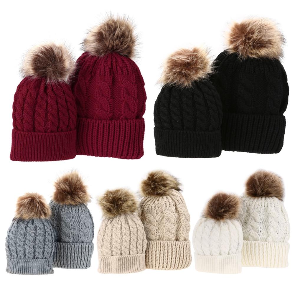 2 PCS Chapéus de Inverno para Crianças Mãe Baby Kid Quente Guaxinim ... 3cec9742ffd