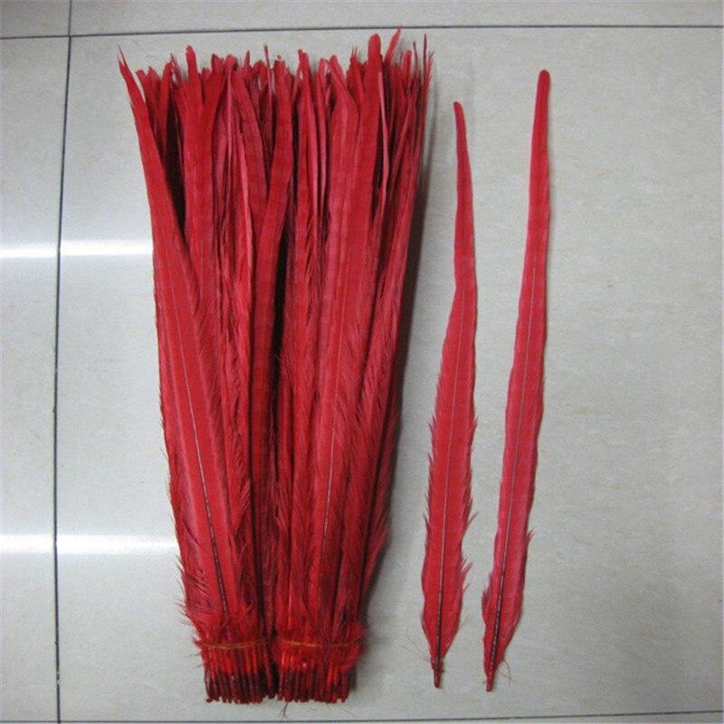 50 PCS rdeče naravno fazno perje repa 50-55 cm / 20-22 palcev - Umetnost, obrt in šivanje