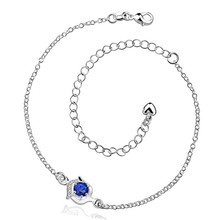 2016 Hot Sale Gift Anklet Silver Color silver plated fashion jewelry anklet for women jewelry/iKPRTOUIC