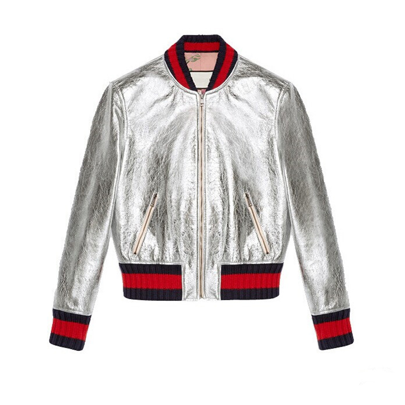 2016 New Bomber Jacket women baseball Jacket Fashion Top Quality patch Color leather Spring and ...