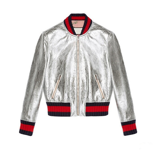 2016 New Bomber Jacket women baseball Jacket Fashion Top Quality patch Color leather Spring and Autumn skin coat for women Coats