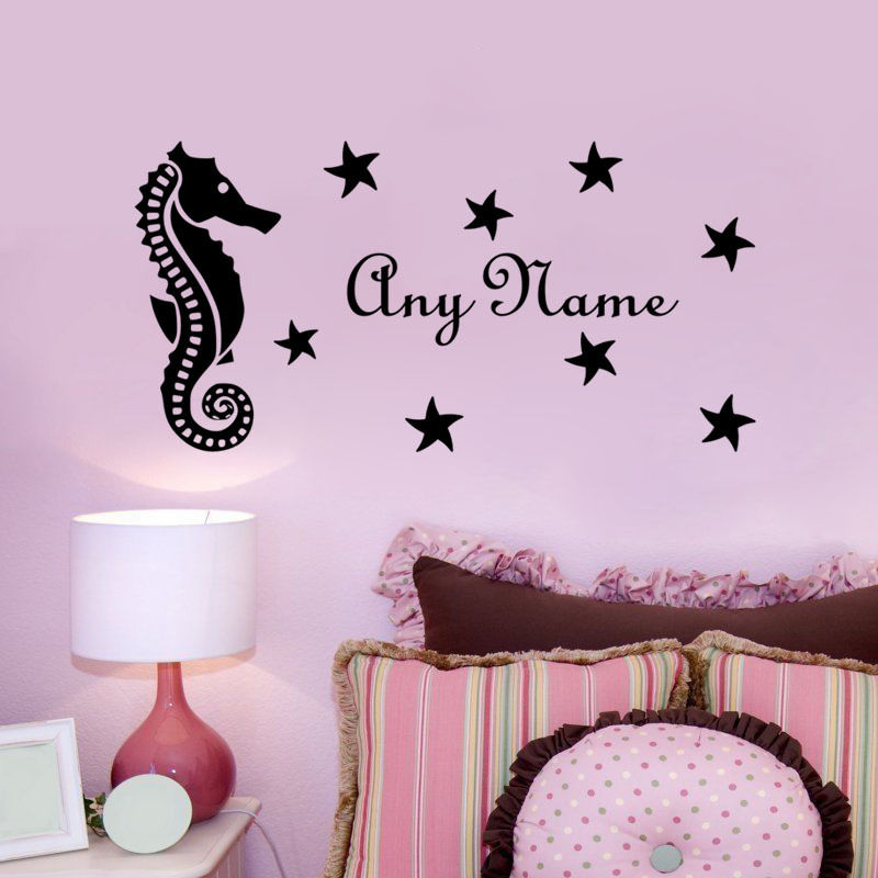 DIY Seahorse With Star Personalized Name Vinyl Home Sticker Customized Decal For Kids Nursery Room Wall M-142