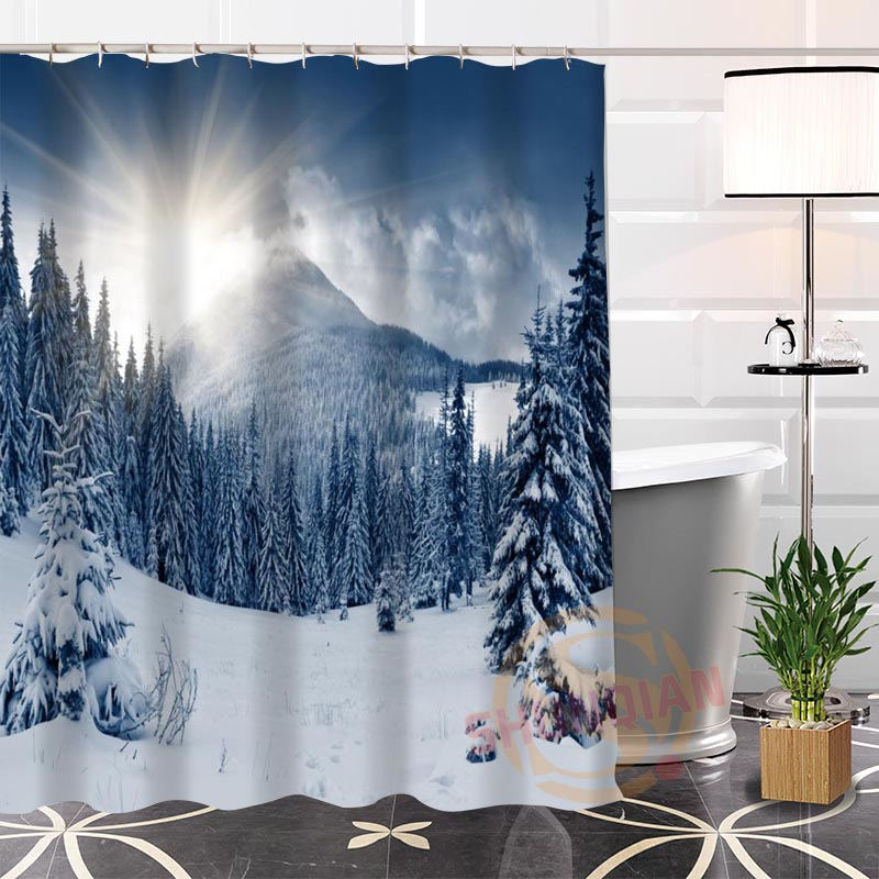Hot New Eco Friendly Custom Unique Winter Mountains Modern Shower Curtain  Bathroom Waterproof For Yourself