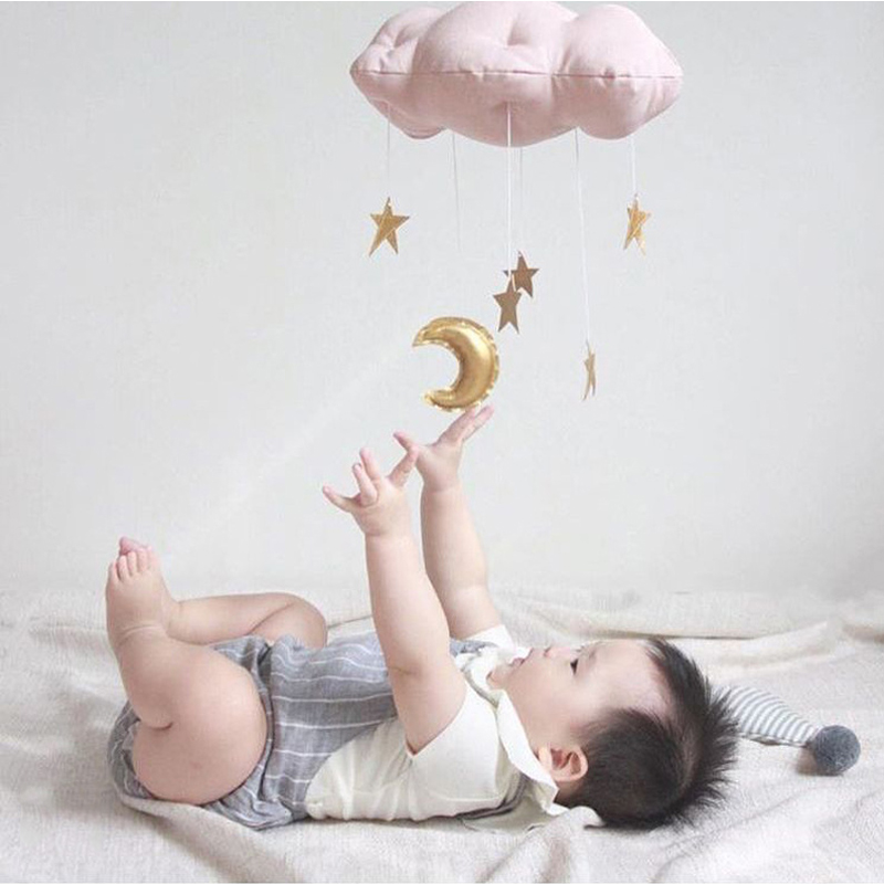 Baby Room Decor For Baby Newborn Sleeping Room Hanging Raining Clouds Moon Shape Pillow Children Princess Photograph Toys Bumper
