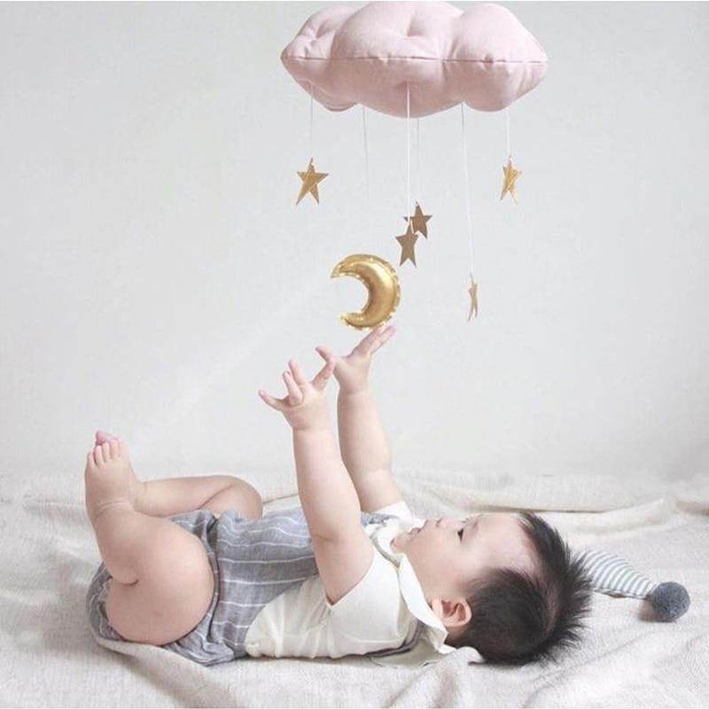 Decoración de habitación de bebé para habitación de bebé recién nacido dormitorio colgando nubes lluviosas forma de luna almohada niños princesa fotografía juguetes parachoques Lámpara de pared de cabecera antigua de estilo americano luces de sala de estar de una sola cabeza lámparas de bar de moda vintage