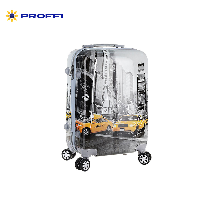 Fashionable suitcase with print PROFFI TRAVEL PH8651, M, plastic, medium, with built-in scales with combination lock on wheels